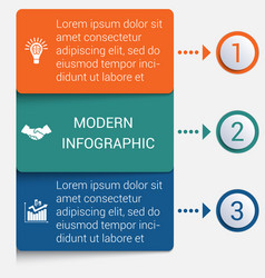 Modern strips infographics 3 options banner vector
