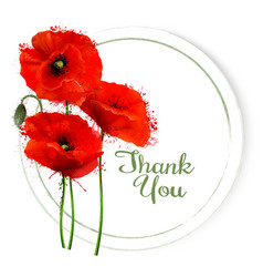 natural getting card with red poppies flowers vector image