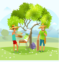 Nature artist painting landscape vector