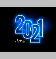 Neon style 2021 blue happy new year background vector