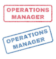 Operations manager textile stamps vector