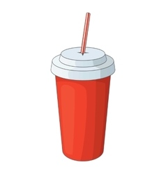 Paper cup with straw icon cartoon style vector image