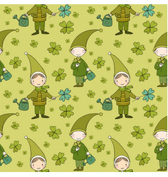pattern with cute gnomes clover and watering vector image