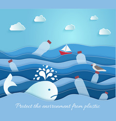 plastic pollution in sea ecological blue vector image