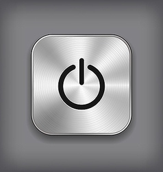 Power icon - metal app button vector image