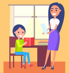 private lessons at home with schoolboy and teacher vector image