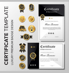 professional minimalist certificate with badge vector image