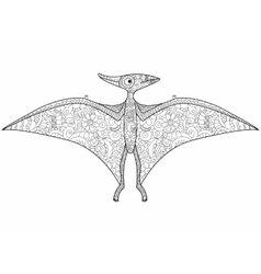 Pterodactyl dragon coloring for adults vector image