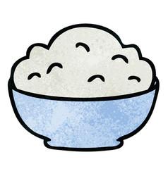Quirky hand drawn cartoon bowl of mash vector