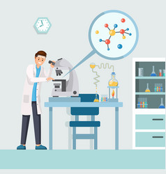 researcher with microscope vector image