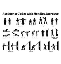 resistance tubes band with handles exercises and vector image
