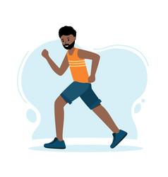 Running man african runner isolated on blue vector