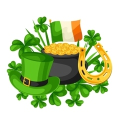 Saint Patricks Day card Flag Ireland pot of gold vector