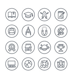 School and college line icons vector