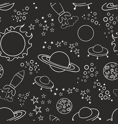 seamless black background with stars and vector image