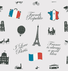 seamless pattern on france and paris theme vector image