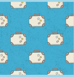 seamless pattern suitcase background vector image