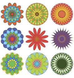 Set of abstract geometric ornament in color vector image