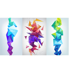 set of abstract vertical facet banners 3d vector image