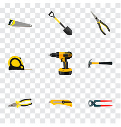 Set of instruments realistic symbols with saw vector