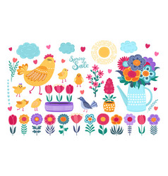 spring set hand drawn flowers birds and vector image