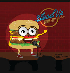 Stand up comedy burger open mic vector