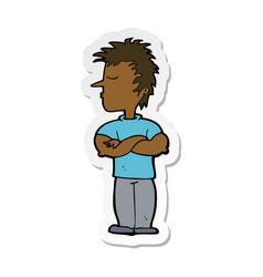Sticker a cartoon man refusing to listen vector