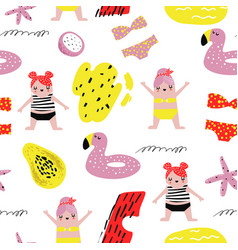 summer childish seamless pattern with cute girls vector image