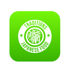 Sushi japanese food icon green vector