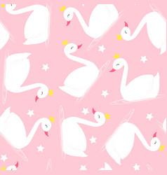 swan seamless pattern vector image