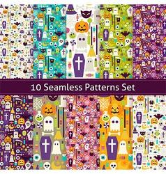 Ten Flat Seamless Halloween Party Patterns Set vector