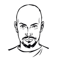 the head a serious man in a character for the vector image