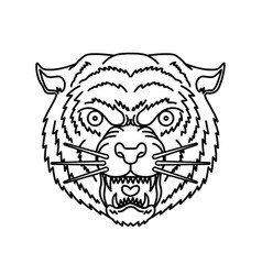 Tiger head in line style for logo label sign vector