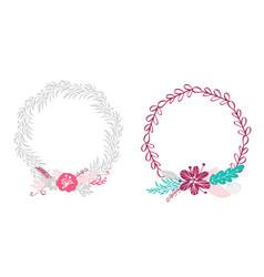 two floral wreath bouquet flowers botanical vector image