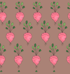 Vegetable pattern with radish vector