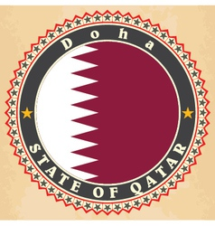 Vintage label cards of Qatar flag vector image