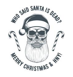 vintage santa claus skull vector image