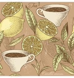 Vintage tea and lemon seamless background vector image