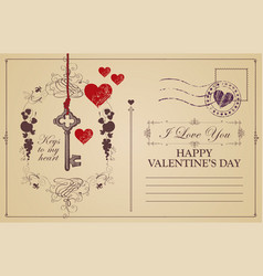vintage valentine card with key to heart vector image