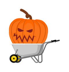 wheelbarrow halloween big terrible pumpkins vector image