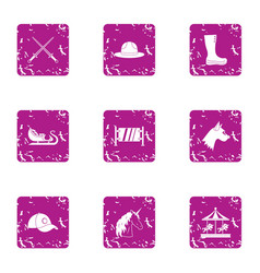 Witchcraft holiday icons set grunge style vector