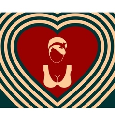 Woman silhouettes on heart backdrop vector image