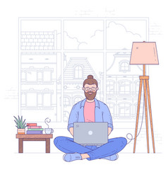 young man sits on floor with notebook vector image