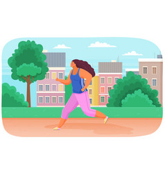 Young woman in sports wear running or jogging vector