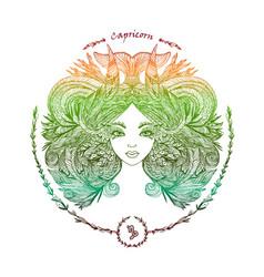 zodiac sign portrait of a woman capricorn vector image