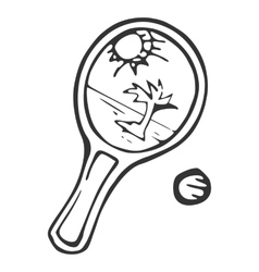 Equipment for beach tennisracket and ball vector image vector image