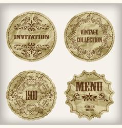 paper cut golden labels vector image vector image