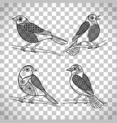 birds with doodle decoration vector image vector image