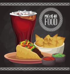 Mexican food menu card vector