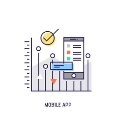 Mobile app diabetes thin line icon vector image